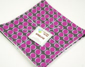 Eco Friendly Washcloth or Cloth Wipes with Soft Terrycloth -Set of 2 in Purple Grey Polka Dots