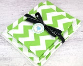 Kitchen Gift Set Includes 1 Plastic Bag Holder, 1 Dishtowel and 1 Washcloth in Lime Green Chartreuse CHEVRON