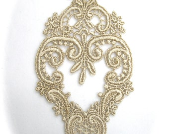Golden Venise Lace Applique Ornate Venice Motif Heart Great for Crazy Quilting