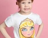Aurora sleeping beauty Disney PRINCESS hand painted shirt 6 12 18 24 2 3 4 5 6 7 8 9 10 BOUTIQUE PAGEANT custom