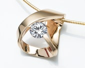 14k Gold - CZ - Gold Necklace - Designer Jewelry - 3442