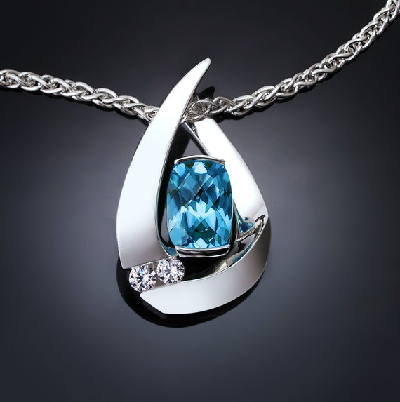 Swiss blue topaz necklace, december birthstone, blue topaz pendant, argentium silver, wedding, white sapphire, contemporary jewelry - 3378