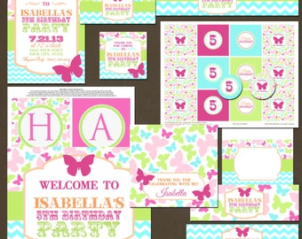 Butterflies Girls Birthday Party Package, Printable, DIY