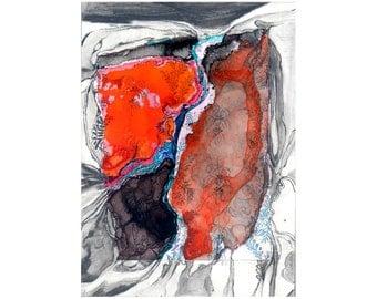 Modern art print, gray orange abstract watercolor, small wall art, Colonization: Blue Wallpaper 3 (Lava Pool Ridge)