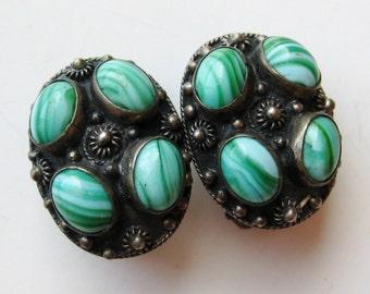 Vintage Fine Etruscan 800 Italian Silver Swirled Green Venetian Art Glass Clip Earrings