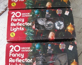 reflector lights boxed tree lights electric  3 sets mid century lights 31 feet silver reflector tree lights