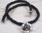 Black Silver Choker - Beadwoven Flower Necklace