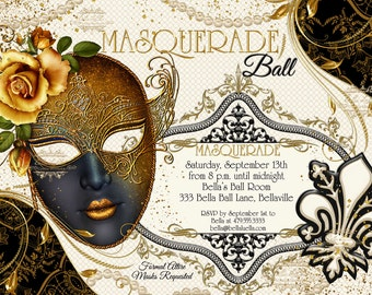 Masquerade Party Invitation, Masquerade Party, Mardi Gras Party Invitation, Party Invitations