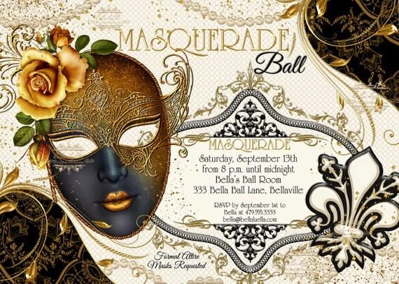masquerade party invitation masquerade party mardi by bellaluella, Party invitations