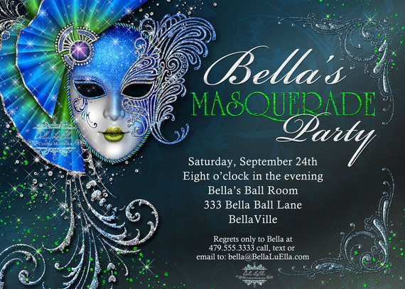 Masquerade Invitation Mardi Gras Party Party Invitations