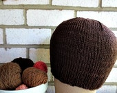 Chemo/Alopecia Cotton Cozy Chocolate   Hat Knitted Hat Gift under 25 dollars