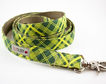 Green Vintage Plaid Dog Leash