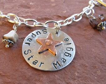 Custom Metal Stamped Tripawd Silver Charm Bracelet