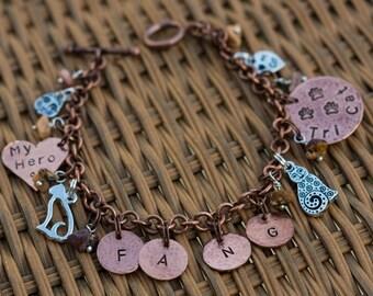 CUSTOM Tripawd Cat Charm Bracelet (Examples)