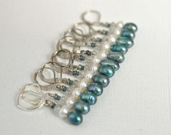 Sea Green Teal Pearl Earrings with White Freshwater Pearls and Crystals on Lever Back Ear Wires Handmade in Maine
