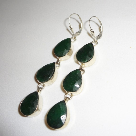"""CLEARANCE, Natural Triple Pear shaped Emerald, Solid Silver Leverback Pierced Earrings 3"""" long"""