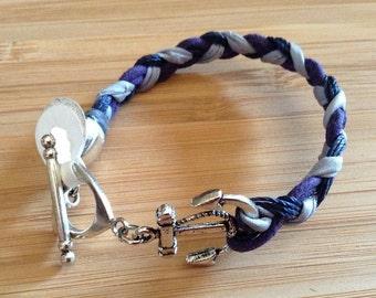 Blue, Purple and Gray Anchor Bracelet