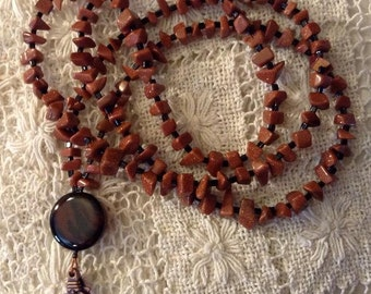 Brown Goldstone Chip Lanyard
