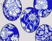 Printable Digital Collage Sheet - Digital Art -  Oval Cabochon Indigo & White Asian Chinese Porcelain 30 X 40 mm Printable Download CS 147