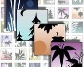 Digital Collage Sheet - Digital Art - Asian Art - 1 Inch Square - Ombre - Image Illustration - Printables - CS317