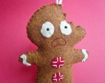 scared gingerbread man ornament, funny felt gingerbread ornament, Christmas tree ornament