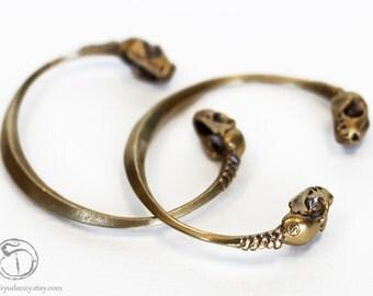 Brass Bat Skull Bracelet