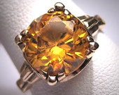 Antique Yellow Zircon Wedding Ring Vintage Art Deco 5ct