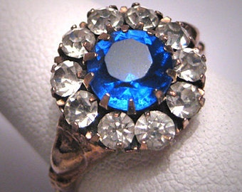 Antique Sapphire Paste Ring Victorian Rose Gold Vintage