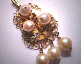 Antique Oaxaca Gold Pearl Pendant Necklace Victorian Wedding 1920
