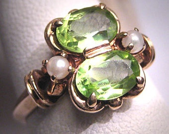 Antique Victorian Peridot Seed Pearl Ring Vintage Deco Wedding