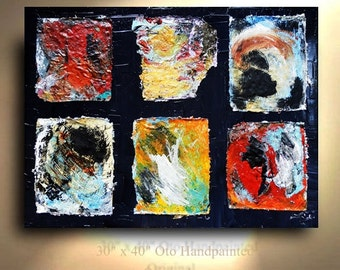 ORIGINAL 30x40 Very Unique From Oto Hand painted Collage Painting Canvas Abstract Modern Art Artwork Contemporary Heavy Textured by OTO