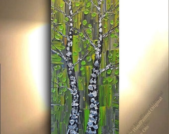 ORIGINAL Painting 16x40 Green Grey Oil Painting Forest Art Birch Aspen Tree Abstract Texture decor Artwork Fine art Oil canvas by OTO