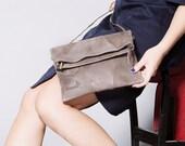 Brown leather clutch, women wallet, handmade leather purse, crossbody foldover bag