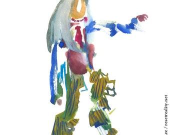 "Unique Abstract Watercolor Figure Painting, Surreal Original Art Gift Idea 6"" x 6"" - 246"