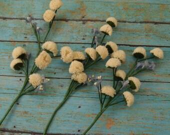 Artificial Flower Spray - 3 Cream Pom-Pom Chrysanthemum Silk Flower Sprays