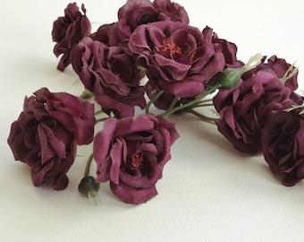 14 DEEP PURPLE Miniature Roses -  Silk Flowers, Artificial Flowers, Flower Crown, Millinery, Wedding, Wreath