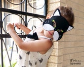 Cat Mask Tail Sewing Pattern Non Sew DIY set - Toddler Kids Adult  Children pretend play Carnival Costume Dress Up - DollsAndDaydreams