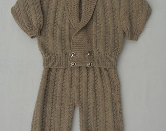 Jacket/cardigan,coat and trousers outfit, for a baby boy or toddler, hand knitted in fawn/beige wool mix yarn, age approx 18-24months.