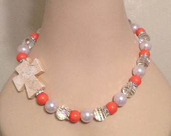 Side Cross Beaded Necklace