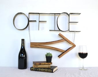 Wine Barrel Sign OFFICE W/arrow made from wine barrels - made from Napa Wine Barrel Rings -100 recycled