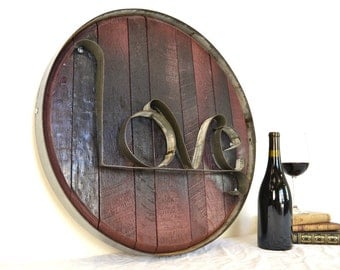 """RONDA - """"LOVE"""" - Authentic Wine Barrel Head  Sign - From Napa Valley, 100% recycled"""