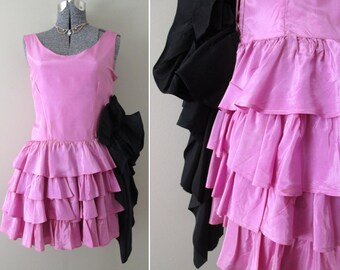 Vintage 20s 30s Tiered Ruffle Great Gatsby Dress - Flapper Orchid Lilac Purple Glam Sexy Party Dress Formal Short Mini Petite Teen Girl XS