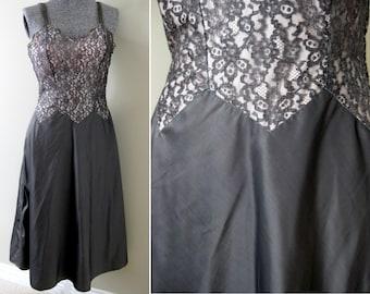 MINT Vintage 40s Barbizon Full Slip Lingerie - Sexy Illusion Lace Bodice Dress Slip Pewter Taffeta Grey Deadstock Unworn Bombshell Burlesque