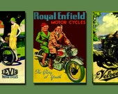 Motorcycles - Old Classic, Gift for Him, Royal Enfield, Velocette, Levis - Set of 3 A3 (11.7 x 16.5) Prints, Free Shipping!