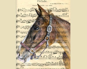 Custom Portrait of your Pet - Painted on Sheet Music - by professional artist Julia Braun - Raven; size 8x11inches