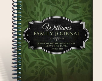 Family Prayer Journal: Hunter Green  Personalized / Family Memories / Joshua 24 15