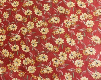 Rust Fabric Fall Color material Cotton Fabric with Flowers Thimbleberries