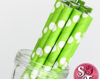Dot Lime/White Party Paper Straws - Cake Pop Sticks - Pixie Sticks - Qty 25