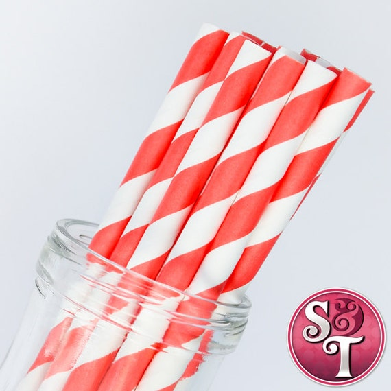 Stripe Coral Party Paper Straws - Cake Pop Sticks - Pixie Sticks - Qty 25