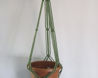 Macrame Plant Hanger 35in SIMPLE 3-ARM 6mm - Sage Green